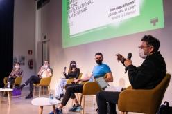 Vicente Monroy, Núria Gómez Gabriel, Ángela Millano eta Julián Pacomioren arteko solasaldia